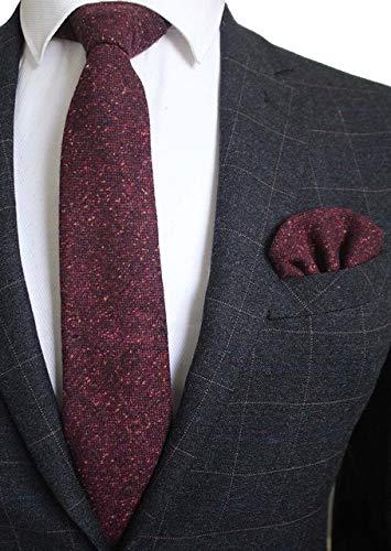 DJLHN Corbata de Lana de 8 cm Corbata a Cuadros sólidos Corbata de Cachemira Premium para Hombre y pañuelo Conjunto de Corbata para Fiesta de Boda - 04