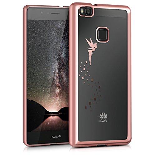 kwmobile Funda Compatible con Huawei P9 Lite - Carcasa de TPU Hada en Oro Rosa/Transparente