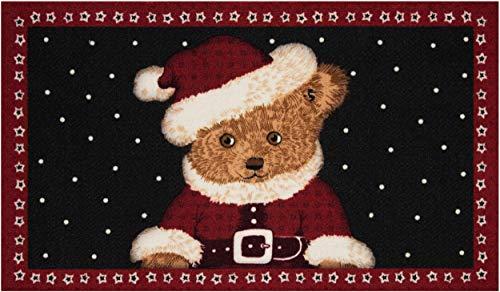 Bavaria Home Style Collection - Deko Motiv Fussmatte Weihnachten Winter Weihnachtsmann Teddy Bär l rechteckig Höhe 7 mm ca 45 x 75 cm
