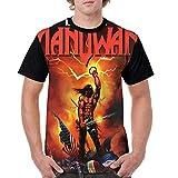 Frieda J O Manowar T Shirt Men Short Sleeve Comfort Crew Neck Baseball T-Shirt Black
