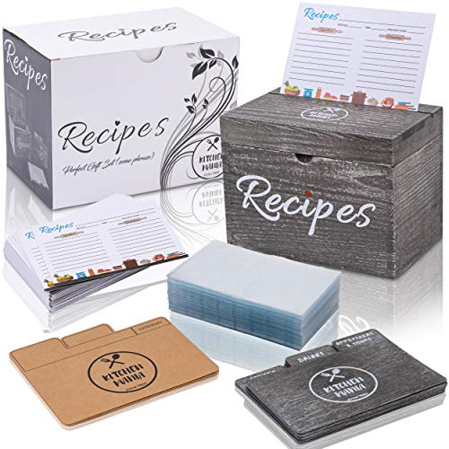KitchenMania Wood Recipe Box with Cards,Wood Dividers 4x6 Vintage Style Set,100 Double Sided Recipe Cards,100 Recipe Card Protectors,Cute Gift for Grandma Mom Women Wedding Bridal Shower Rustic Black