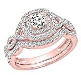 Dazzlingrock Collection 1.00 Carat (ctw) 14K White Diamond Swirl Bridal Halo Engagement Ring Set 1 CT, Rose Gold, Size 7