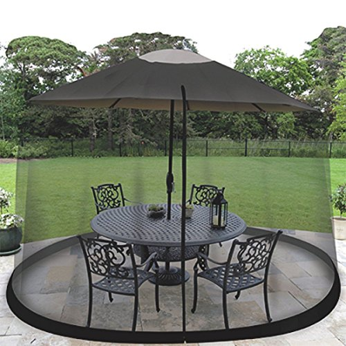 HomeRoots 9' Patio Umbrella Outdoor Table Bug Screen Mesh Black Mosquito Net Canopy Curtains Adjustable Enclosure Large Umbrella Hanging Tent 100% Polyester Light Weight Mosquito Netting