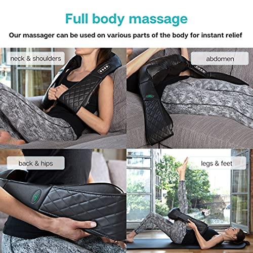 Oliver James Masseur à Epaule et Cou avec Shiatsu rouleaux de massage en 3D-Rotation - Chauffant por le dos - Soulagement des douleurs musculaires et du stress à la maison, au bureau ou en vacances