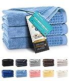 ZWOLTEX Toallas suaves de 100 % algodón egipcio, hechas en la UE, toallas de invitados, toallas de ducha ultrasuaves, toallas de baño, juego de 3, color azul claro