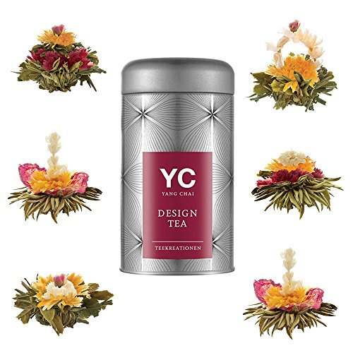 Yang Chai Teeblumen Geschenkset Excite – Tee Geschenk Flower Tea 6 versch.Teeblumen in Metalldose MIT Teeblumenhalter