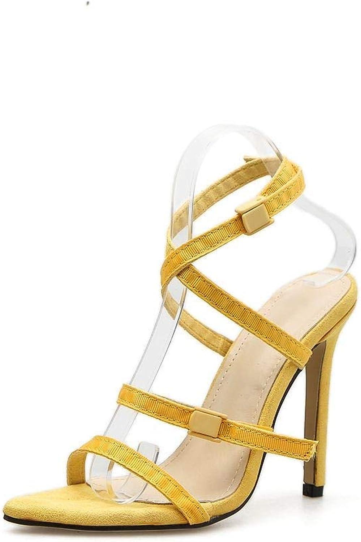 Sugoishop Women's High Heel Sandals Cross Pointed Fine Super High Heels
