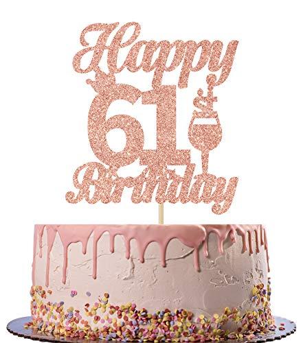 Rose Gold Happy 61st Birthday Glitter Cake Topper- 61st Birthday Party Cake Decor-Party Decoration for 61st Birthday