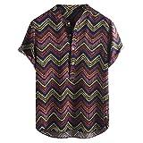Ropa de Hombre Vintage étnico Estampado Cuello Redondo Corto Estampado Moda Cuello Alto Manga Corta Camisa Suelta Blusa Negro Negro (M