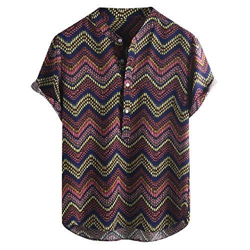 Ropa de Hombre Vintage étnico Estampado Cuello Redondo Corto Estampado Moda Cuello Alto Manga Corta Camisa Suelta Blusa...