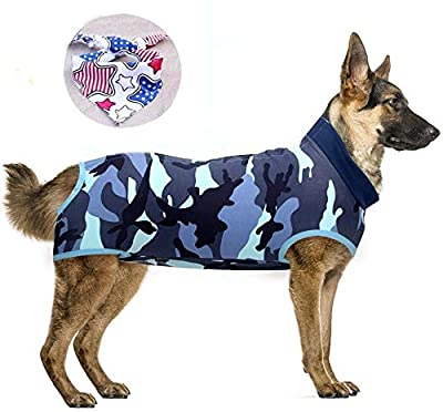 Isyunen Dog Surgical Recovery Suit Abdominal Wound Protector Medical Surgical Shirt, After Surgery Wear, E-Collar Alternative for Dogs, Home Indoor Pets Clothing (S, Camouflage Blue)