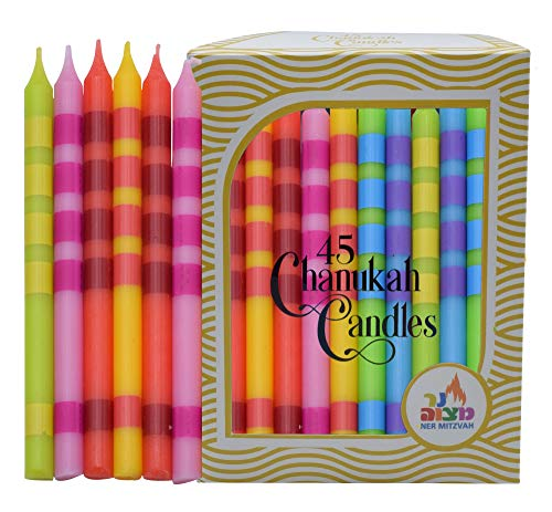 Dripless Chanukah Candles Standard Size - Two Tone Multi Colored Hanukkah Candles Fits Most Menorahs - Premium Quality Wax - 45 Count for All 8 Nights of Hanukkah - by Ner Mitzvah
