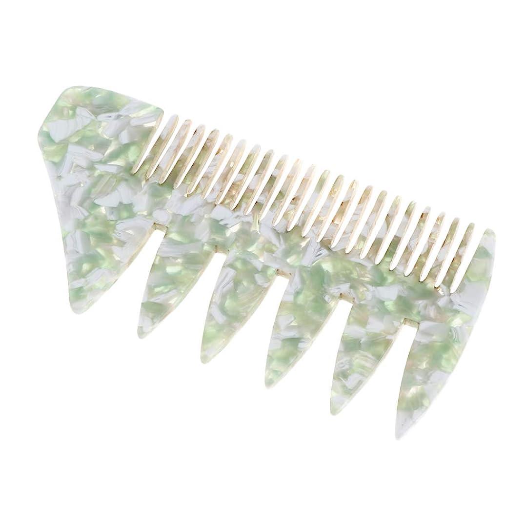 通路未知のハムSM SunniMix プラスチック 広い歯 ヘアスタイリング櫛 くし 全4色 - 緑