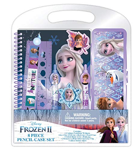Innovative Designs Disney Frozen 2 Kids School Supplies & Pencil Case Set, 8 Pc., Includes Frozen Stickers