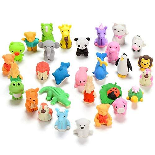 40Pcs Gomas de Borrar Animal,BESLIME Juguete Desmontable Mini de Goma, Conjunto de Borrador para Niños Regalo fiesta de...