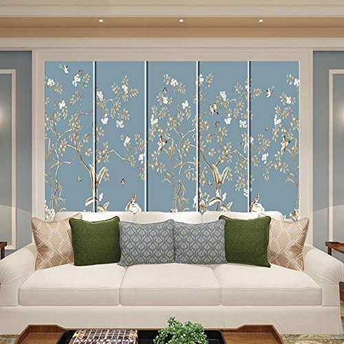 Bolsa dura decorada dormitorio cama flores azules y pájaros personalizados arte inyección de tinta bolsa suave bolsa dura fondo Papel Pintado a papel Fotográfico Fotomural dormitorio-430cm×300cm