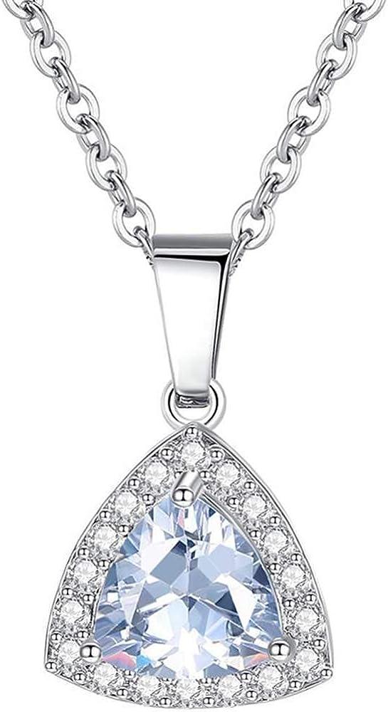 Platinum Plated Tirangle Shape Cubic Zircon Wedding Engagement Solitaire Statement Anniversary Collar Necklace