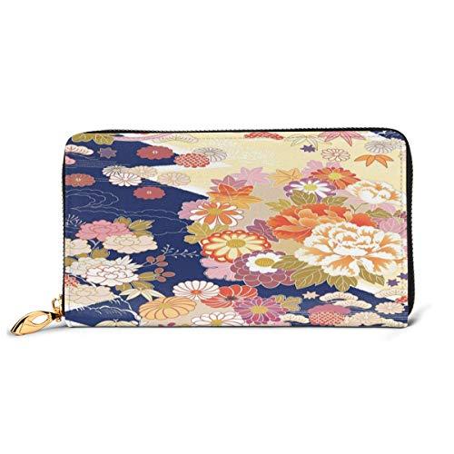 Women's Long Leather Card Holder Purse Zipper Buckle Elegant Clutch Wallet, Traditional Kimono Motifs Composition Asian Ethnic Floral Patterns Vintage Artwork,Sleek and Slim Travel Purse