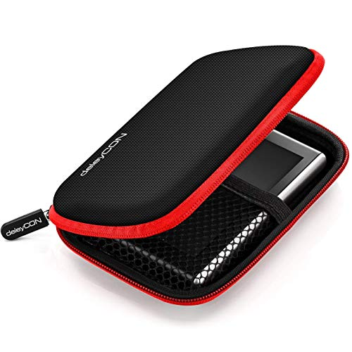 deleyCON Navi Tasche Navi Hülle Tasche für Navigationsgeräte - 4,3 Zoll und 5 Zoll (14,6x9,3x3,4cm) - Robust Stoßsicher 2 Innenfächer - Rot