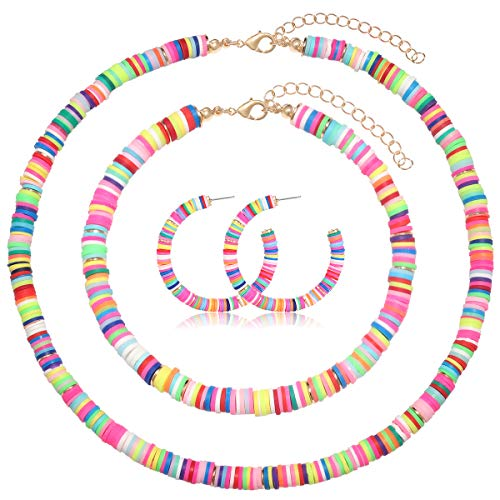 NVENF Heishi Bead Necklace Earrings Ankle Bracelet Set for Women Multicolored Vinyl Disc Beads Surfer Choker Necklaces Beach Anklets Hoop Earrings for Girls Vacation Gifts (Rainbow)