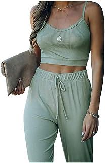 Damen 2 tlg Loungewear Trainingsanzug Jogginganzug Tops Sporthose Sets Hausanzug