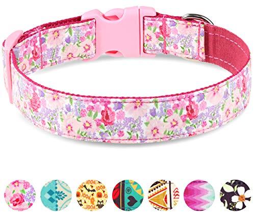 Taglory Verstellbares Hundehalsband,Weich & Komfort Hunde Halsband für Katzen und Extra Kleine Hunde,Rosa Blume