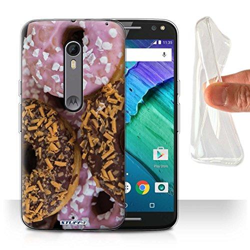 STUFF4 Gel TPU telefoonhoesje/hoes voor Motorola Moto X Pure Edition/chocolade/roze design/smakelijke donuts collectie