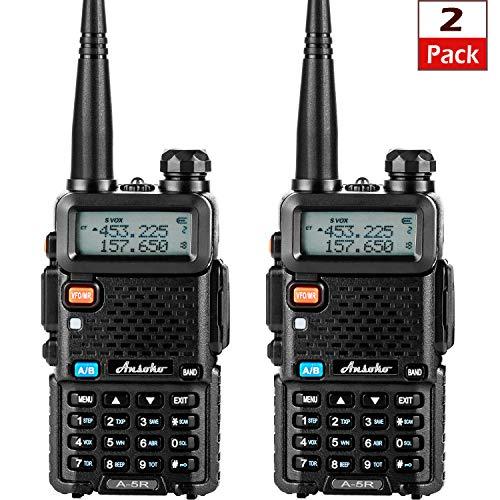 Ansoko Dual-Band Two Way Radios Long Range Walkie Talkies Rechargeable UHF/VHF Portable 2 Way Radio LCD Display (2 Pack)