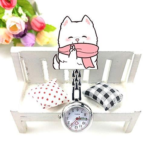 Cxypeng Reloj de Bolsillo Enfermera,Estilo de Dibujos Animados de Animales Luminosa Enfermera Mesa Clip Pecho Reloj de Bolsillo-Vino Tinto,Reloj médico para enfermería