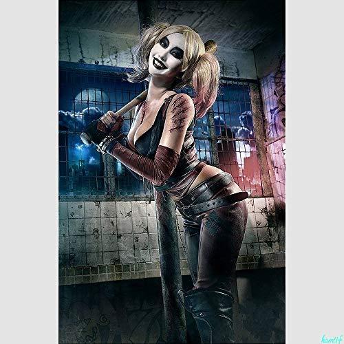 Diamante Pintura Perforación completa Escuadrón suicida Harley Quinn Margot Robbie Bordado de diamantes Punto de cruz Mosaico de diamantes,80x105cm