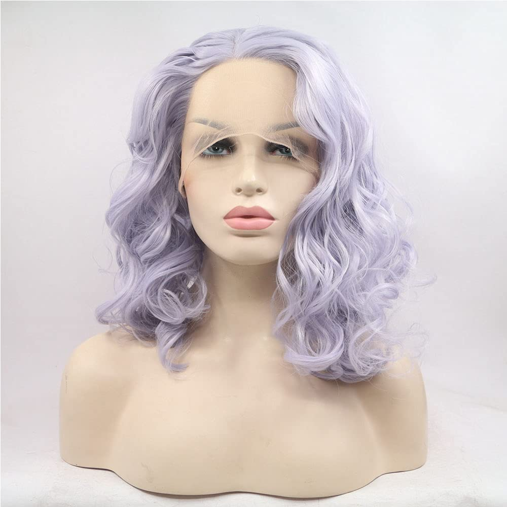 Xiweiya Short Platinum Pueple Curly Lace 1 year warranty Front Cosplay Wigs Direct store