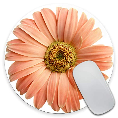 Amcove Peach Flower Circle Mouse Pad - Round Mousepad - Coworker Teacher Gift - Floral Print - Watercolor Flowers 7.9 x 7.9 x 0.12 Inch