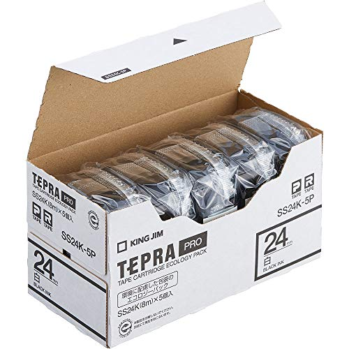 テプラ PRO用テープカートリッジ 白ラベル エコパック 5個入り SS24K-5P [黒文字 24mm×8m]