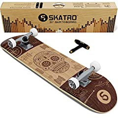 """PERFORMANCE - 31"""" length x 8"""" width. 50mm x30mm 95A High Performance wheels, ABEC 7- Ultra speed stainless steel bearings, 5 inch durable and lightweight aluminum trucks SKATRO Adhesive technology - A proprietary adhesive technology that not only mou..."""