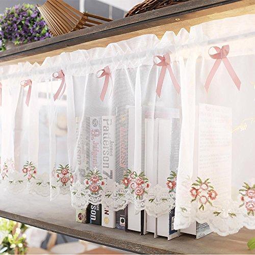 Rideau romain en tulle pour cuisine - Petit rideau semi ombre - Petit rideau pour la décoration de la maison - Rose - 1 pièce (35 x 200 cm)