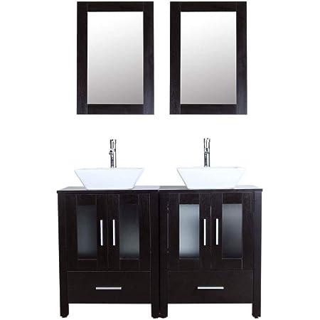 Amazon Com 48 Bathroom Vanity Cabinet And Sink Combo Double Top W Vessel Sink Mirror Faucet Draint Set Black Kitchen Dining