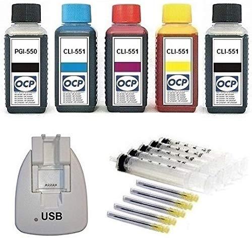 Chip-Resetter + Nachfüllset 5 x 100 ml OCP Nachfülltinte (MADE IN GERMANY) und Zubehör zum befüllen von PGI-550, CLI-551 black cyan magenta yellow Druckerpatronen