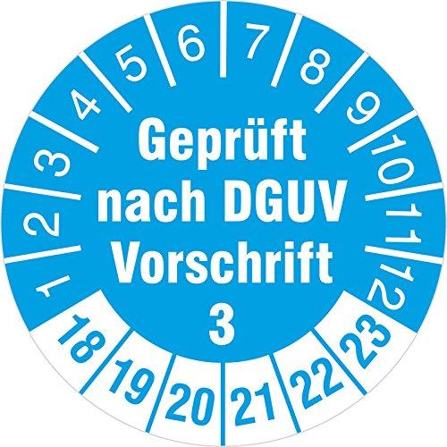 100 Stück geprüft nach DGUV Vorschrift 3 Prüfetiketten / Prüfplaketten 30 mm rund 2018-23