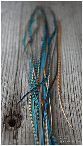 5 Ressort Extensions + micro-anneaux individuels (naturel + Turquoise)