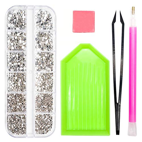 2320 Pieces Clear Nail Stones and Gems, SS4/5/6/8/10/12 Mixed Crystals Glass Nail Art Rhinestones, Flat Back Round Beads with Storage Organizer Box/Picker Pencil/for Crafts Face Art Clothes Shoes