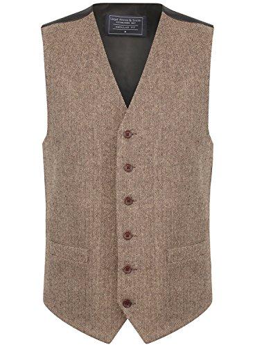 Lloyd Attree & Smith Herren Weste Braun/Beige Tweed Fischgräte Design (Größe XXL)