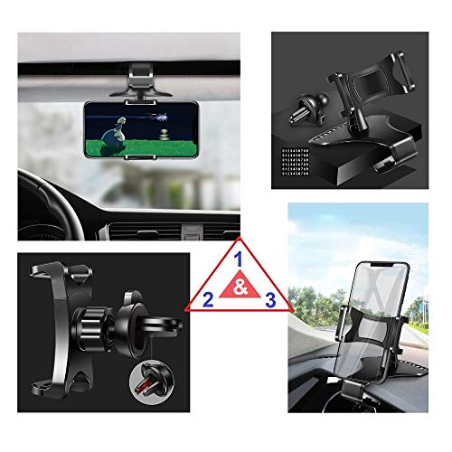 DFV mobile - 3 in 1 Car GPS Smartphone Holder: Dashboard/Visor Clamp + AC Grid Clip for i-Mobile IQ 515 DTV - Black