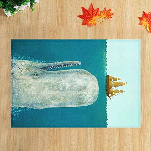 lovedomi Tier-Themenserie Blaues Aquarell Kunst Gemälde von Walen in der Tiefe Sea Medium Brown Holzbrett Bootsboden Eingang Innen Innenkissen Kinderkissen 15.7X23.6In Badezimmerzubehör