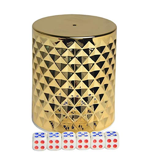 TX GIRL Würfelbecher Set Craps Sets Gold Bar Nachtclub KTV Entertainment Club Supplies (Color : Glod)