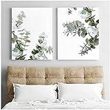 Póster nórdico de acuarela de eucalipto verde, arte mural, impresión botánica, lienzo para salón, decoración del hogar (40 x 60 cm, 2 marcos)