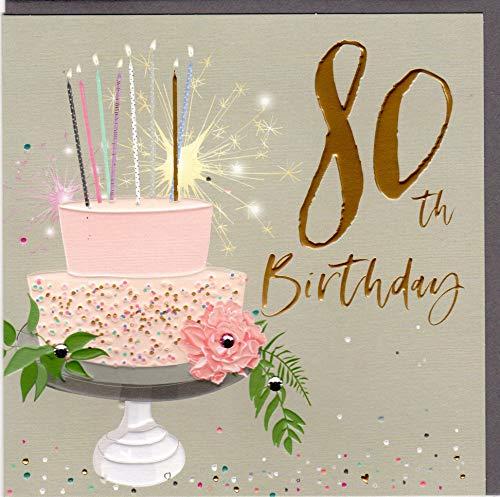 Belly Button Designs hochwertige Glückwunschkarte zum runden 80. Geburtstag aus der neuen Elle Serie mit Prägung, Folie und Kristallen BE038