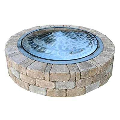 "Stainless Steel Fire Pit Cover Dome Lid Swirl Finish 36"" Diameter"