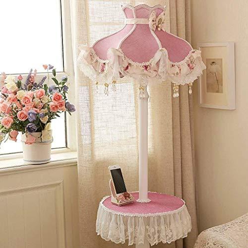 ZLININ Llevó la lámpara de piso, la sala de estar dormitorio lámpara de cabecera creativo Vertical lámpara de pie, Pastoral de la luz del piso del cordón del estante interruptor de pedal Lámpara de pi