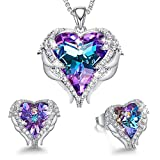CDE Angel Wing Heart Christmas Jewelry Sets Gift Crystals from Swarovski Set for Women Pendant Necklaces and Earrings Anniversary Birthday Thanksgiving Gifts for Women Love