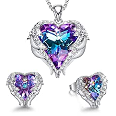 ❤JEWELRY GIFTS FOR WOMEN❤Comes in a solid jewelry gift box. This heart necklace sets could be Birthday Gifts, Anniversary Gifts, Christmas Gifts, Graduation Gifts,Valentine's Day Gifts, etc ❤ANGEL WING HEART DESIGN❤ Mermaid color Heart-shaped stunnin...